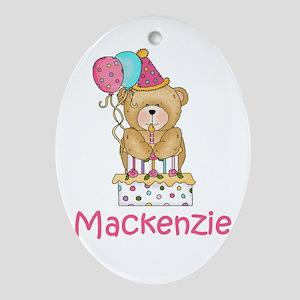 Mackenzie's Birthday Bear Oval Ornament