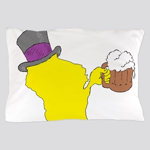 Wisconsin State Beer & Top Hat Pillow Case