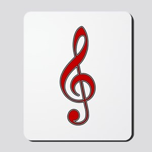 Retro Red Treble Clef Mousepad