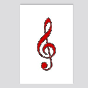 Retro Red Treble Clef Postcards (Package of 8)