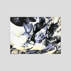 minimalist black white watercolor 5'x7'Area Rug