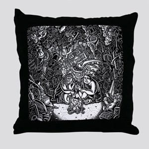 modern cavemen in cave of their posse Throw Pillow