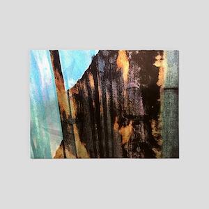 aqua brown tiedye watercolor 5'x7'Area Rug