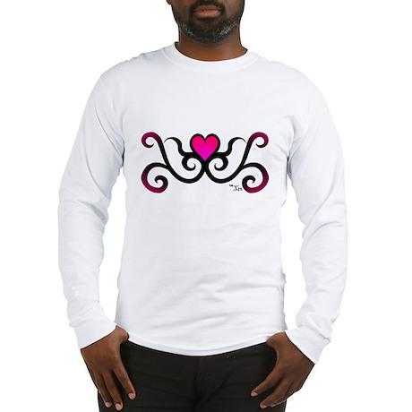 Tribal Pink Heart Long Sleeve T-Shirt