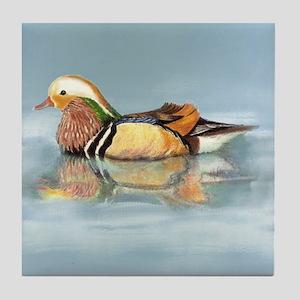 Wood Duck Watercolor Bird Tile Coaster