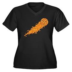 Fiery Volleyball Women's Plus Size V-Neck Dark T-S