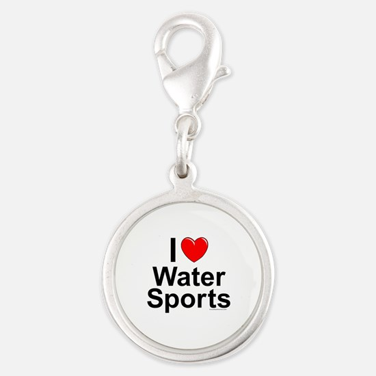 Water Sports Silver Round Charm