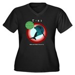 Dolphin Tina Women's Plus Size V-Neck Dark T-Shirt
