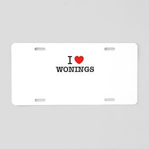 I Love WONINGS Aluminum License Plate