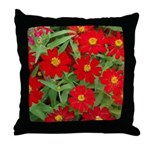 Red Flowers Yellow Centers Throw Pillow
