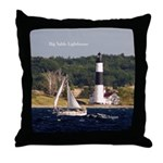 Big Sable Lighthouse And Boat Throw Pillow