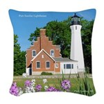Port Sanilac Lighthouse 2015 Woven Throw Pillow