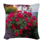 Rose Bush Woven Throw Pillow