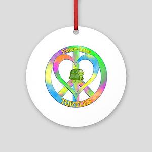 Peace Love Turtles Round Ornament