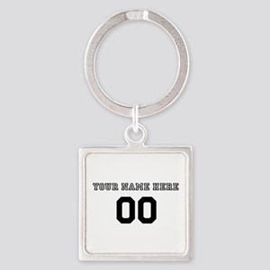 Personalized Baseball Square Keychain