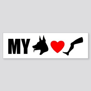 My Dog Hearts Leg Bumper Sticker