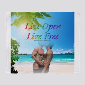 Live Open Live Free 2 Men kissing on the beach Thr