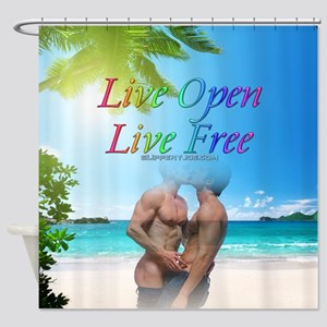 Live Open Live Free 2 Men kissing on the beach Sho
