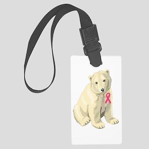 Pink Ribbon Polar Bear Large Luggage Tag