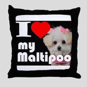 NEW I LOVE My Maltipoo Throw Pillow