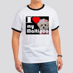NEW I LOVE My Maltipoo Ringer T