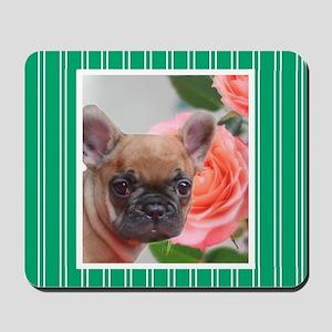 Green French Bulldog Mousepad