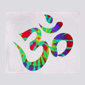 Om Symbol Peace Tie Dye Throw Blanket