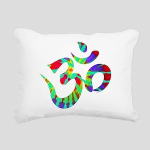 Om Symbol Peace Tie Dye Rectangular Canvas Pillow