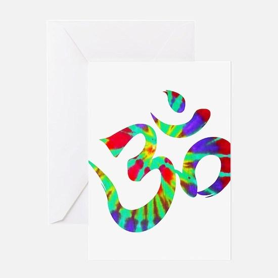 Om Symbol Peace Tie Dye Greeting Cards