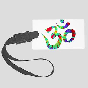Om Symbol Peace Tie Dye Large Luggage Tag