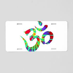 Om Symbol Peace Tie Dye Aluminum License Plate