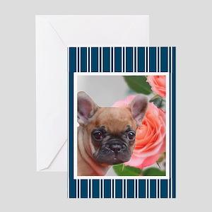Blue French Bulldog Greeting Cards