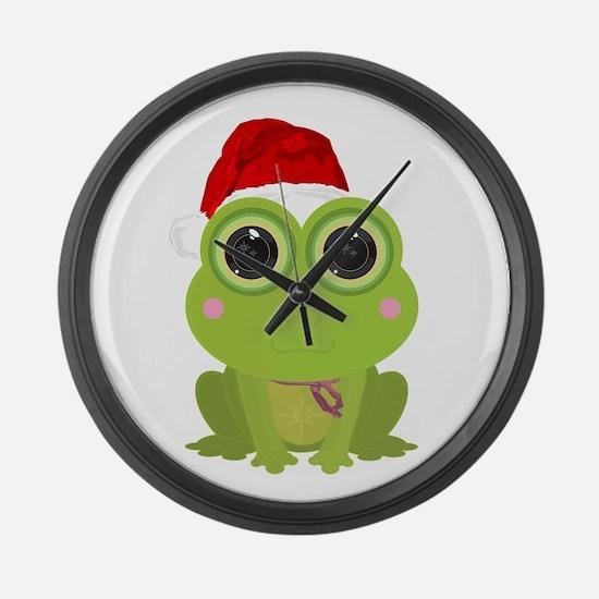 Christmas Frog Large Wall Clock