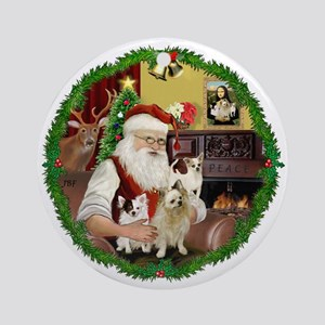 Santa's 3 Chihuahuas Ornament (Round)
