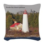 Thunder Bay Island Lighthouse Woven Throw Pillow
