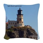 Split Rock Lighthouse 2 Woven Throw Pillow