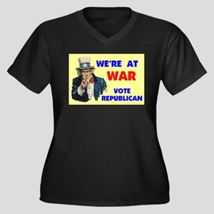 WE'RE AT WAR Women's Plus Size V-Neck Dark T-Shirt