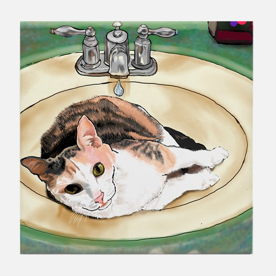 Cute Tortoiseshell cat Tile Coaster