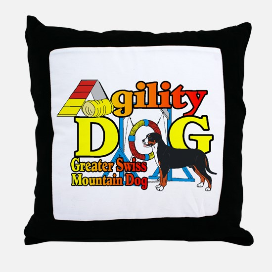 Greater Swiss Agility Throw Pillow