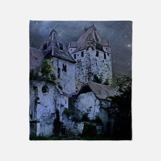 Darkness Halloween Castle Throw Blanket