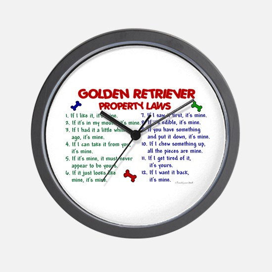 Golden Retriever Property Laws 2 Wall Clock