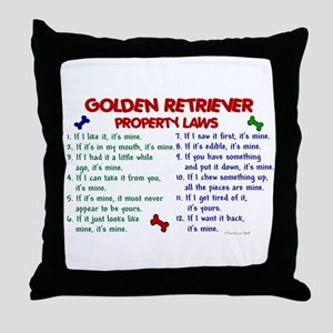 Golden Retriever Property Laws 2 Throw Pillow