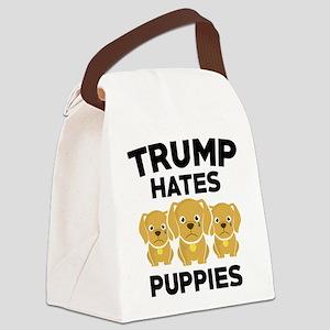 Trump Hates Puppies Canvas Lunch Bag