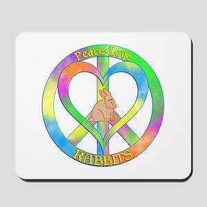 Peace Love Rabbits Mousepad