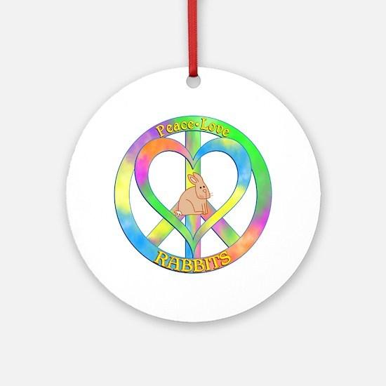 Peace Love Rabbits Round Ornament