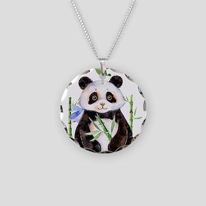 Cute Panda And a Bird Waterc Necklace Circle Charm