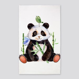 Cute Panda And a Bird Watercolors Area Rug