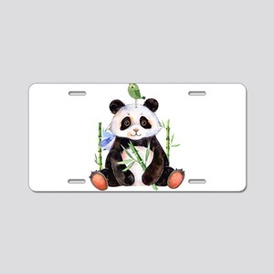 Cute Panda And a Bird Water Aluminum License Plate