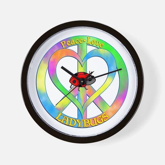 Peace Love Ladybugs Wall Clock