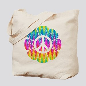 Colorful Peace Flower Tote Bag